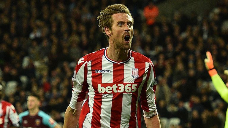 Peter Crouch celebrates after scoring for Stoke against West Ham in the Premier League.