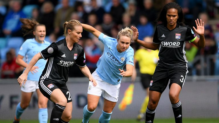 Isobel Christiansen for Man City Women in their Champions League semi-final first leg against Lyon