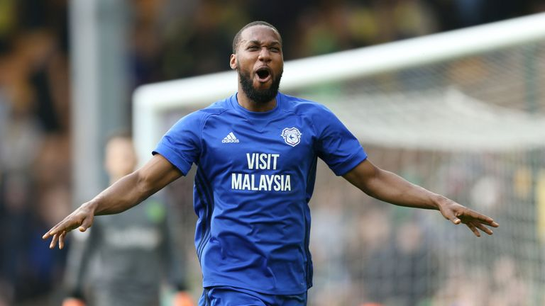 Cardiff City's Junior Hoilett celebrates scoring his side's second goal of the game during the Sky Bet Championship match at Carrow Road