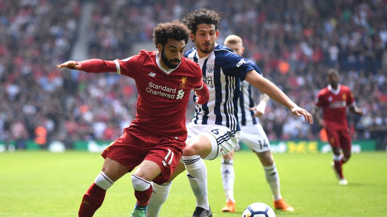 Liverpool's Mohamed Salah and Ahmed Hegazi of West Brom at The Hawthorns