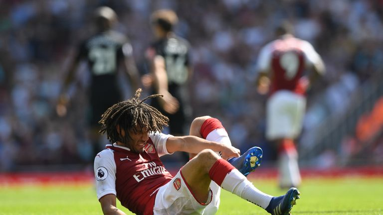 Mohamed Elneny during the Premier League match between Arsenal and West Ham United at Emirates Stadium on April 22, 2018 in London, England.