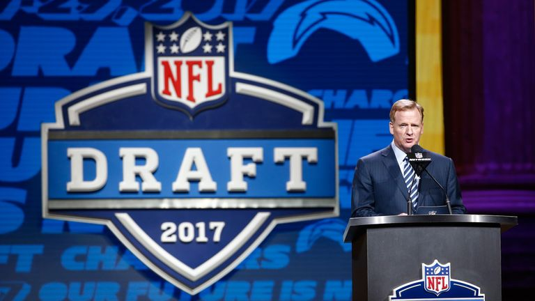 during the first round of the 2017 NFL Draft at the Philadelphia Museum of Art on April 27, 2017 in Philadelphia, Pennsylvania.