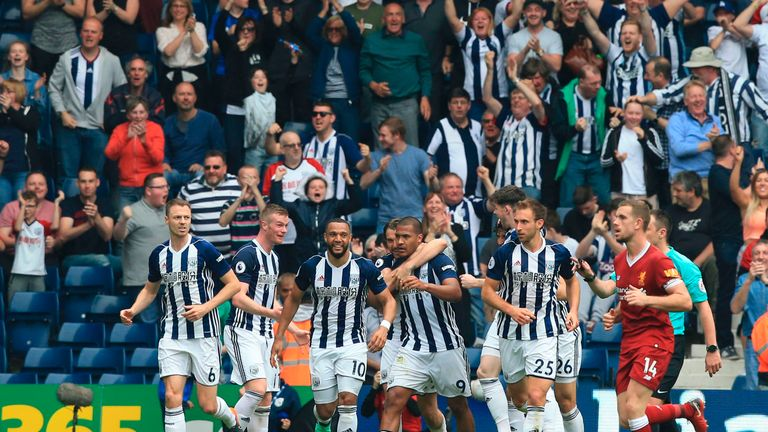 Salomon Rondon celebrates after his late header secured a 2-2 draw against Liverpool