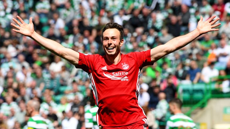 Aberdeen's Andrew Considine celebrates putting the away side ahead