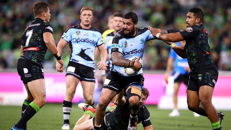 Andrew Fifita during the Sharks' game against the Raiders