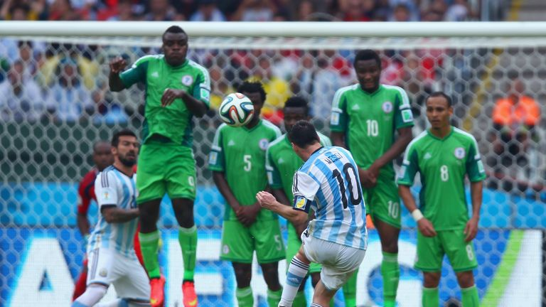 Lionel Messi scoring a free-kick against Nigeria for Argentina in the 2014 World Cup