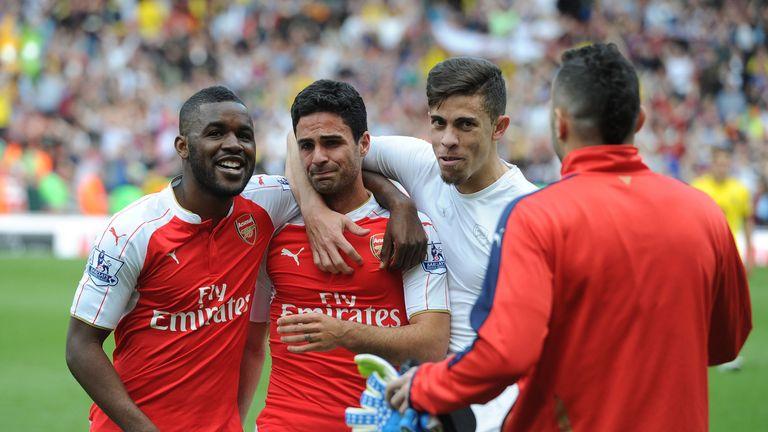 Mikel Arteta bid an emotional farewell to Arsenal in 2016