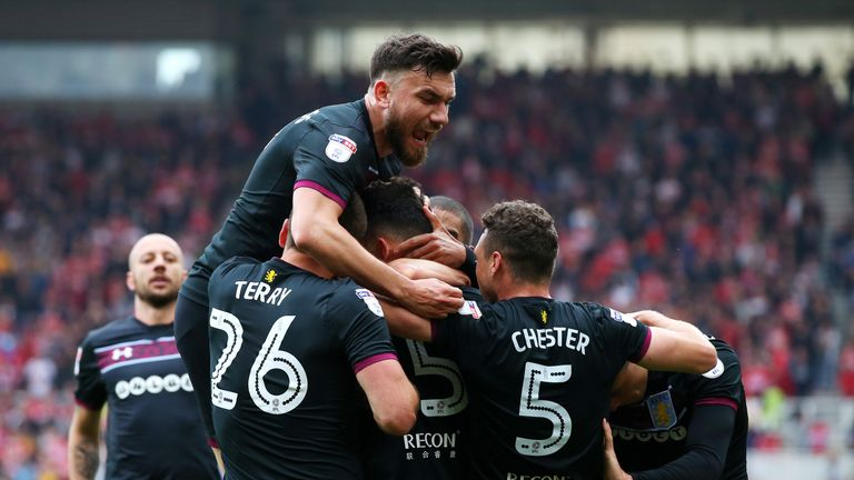 Villa celebrate scoring the only goal at the Riverside Stadium
