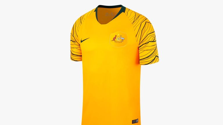 The Socceroos' gold and green home shirt has a sharp graphic on the sleeves