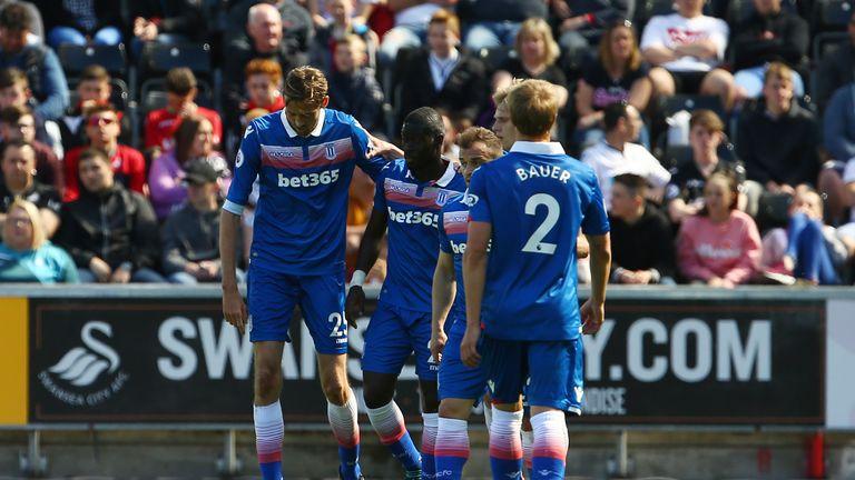 Badou Ndiaye (C) celebrates his goal with team-mates