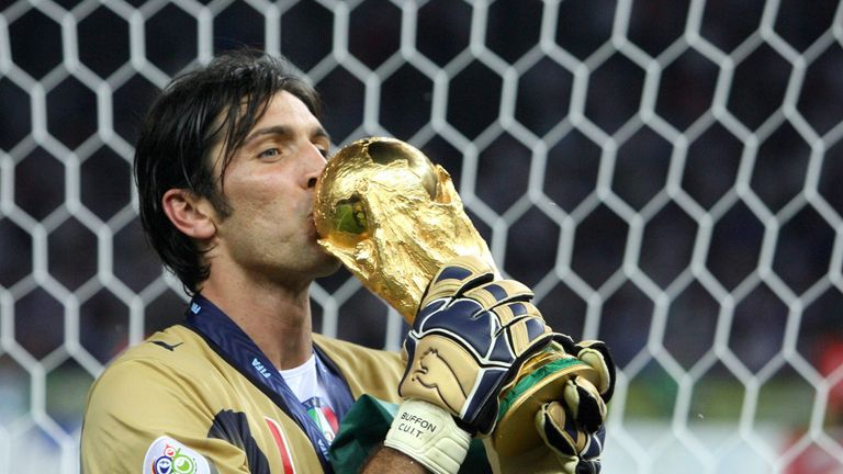 Buffon celebrates with the 2006 World Cup