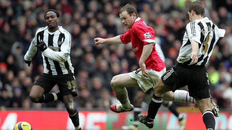 Babayaro in action against Wayne Rooney for Newcastle United