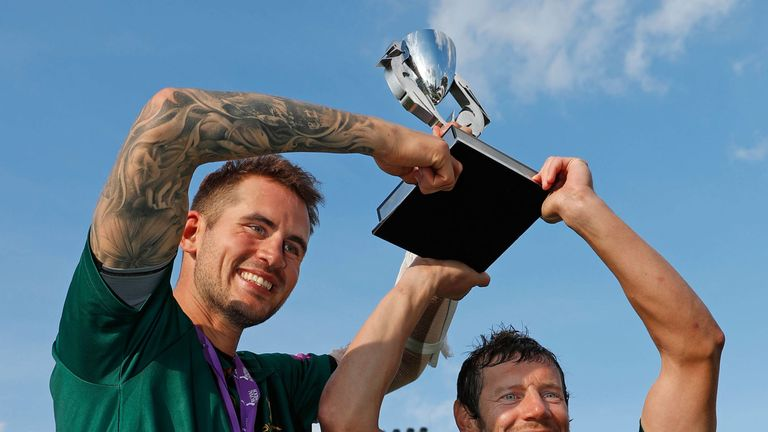 Alex Hales and Chris Read celebrate Nottinghamshire's 2017 Royal London One Day Cup success