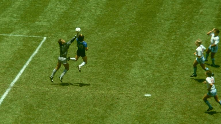 One of Diego Maradona's most-famous moments in his career - scoring with the infamous 'Hand of God' against England