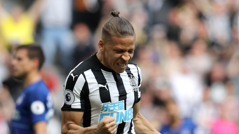 Newcastle United's Dwight Gayle celebrates scoring his side's first goal of the game