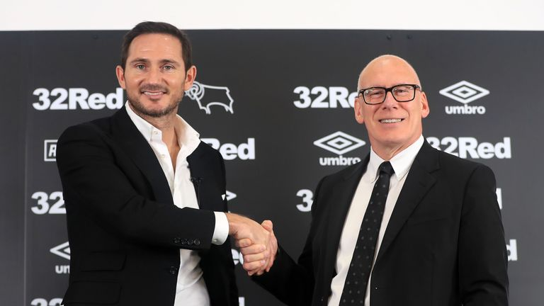 New Derby County manager Frank Lampard and owner Mel Morris during the press conference at Pride Park Stadium