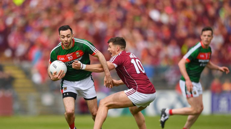 Kevin McLoughlin of Mayo in action against Shane Walsh of Galway. Photo by Eoin Noonan/Sportsfile