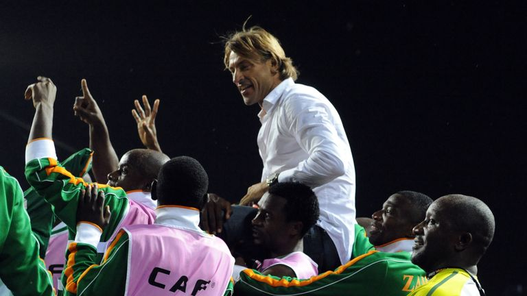 Renard being carried aloft after winning the Africa Cup of Nations with Zambia