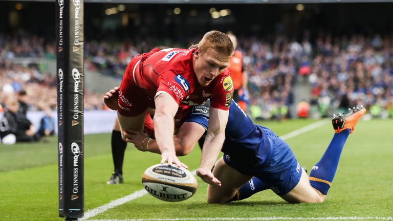 Johnny McNicholl's acrobatic finish for one of his three tries