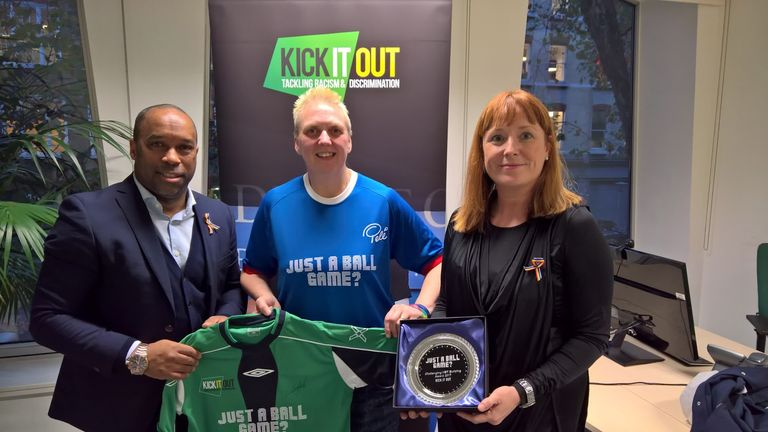 Just A Ball Game?, founded by Lindsay England (centre), partnered with Kick It Out and the UK Home Office last year to issue LGBT-inclusive advice to matchday stewards