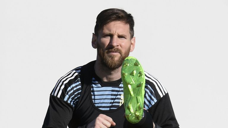 Messi is training with Argentina ahead of another bid to win the World Cup