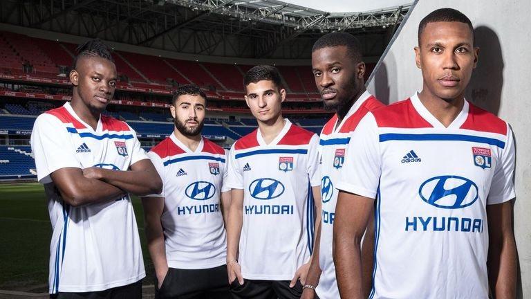 The new Lyon home strip is white with a red block on the shoulders