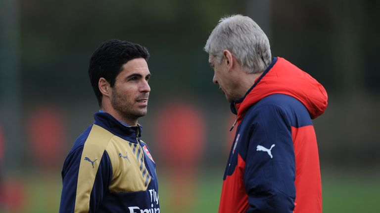 Arsene Wenger (right) says Mikel Arteta 'knows what is important' at Arsenal