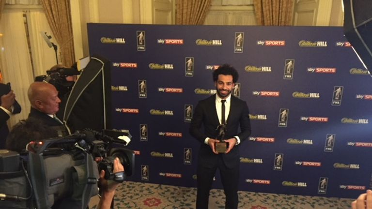 Mo Salah posed for pictures as the FWA awards to in London.