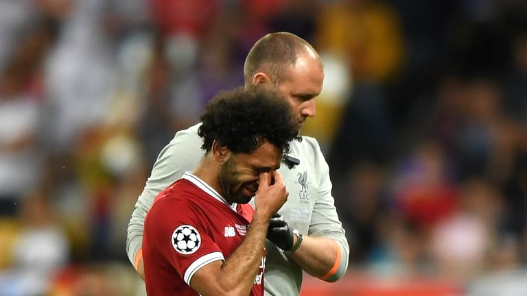 Mohamed Salah left the field in tears after injuring his shoulder in the Champions League final