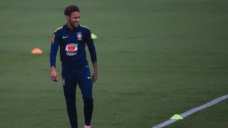 Neymar returned to training with Brazil on Tuesday