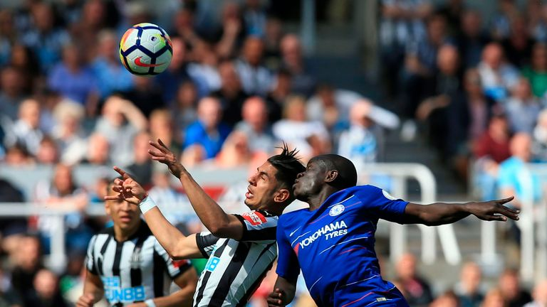 N'Golo Kante and Ayoze Perez battle for the ball at St James' Park