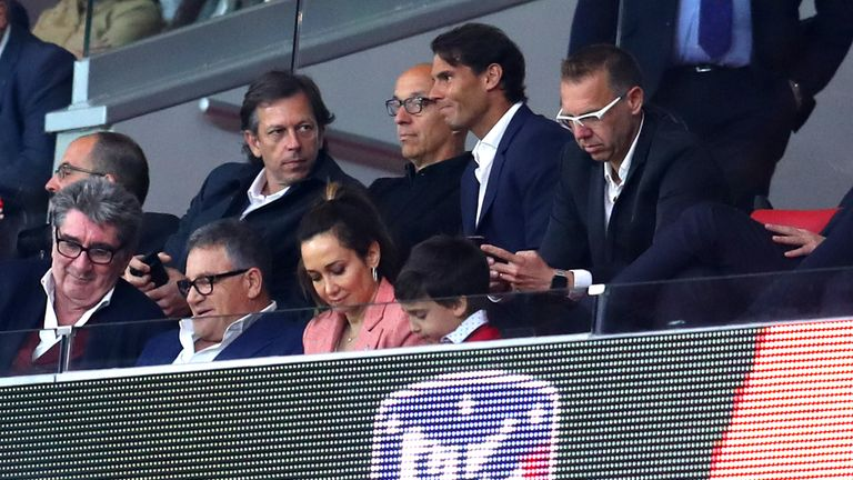 Rafael Nadal caused a stir after turning up to watch Atletico Madrid's Europa League win over Arsenal