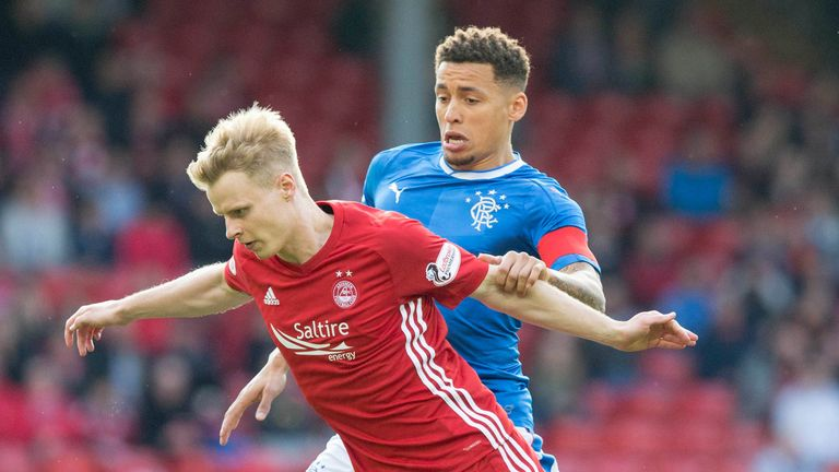 Rangers' James Tavernier (right) and Aberdeen's Gary Mackay-Steven battle for the ball