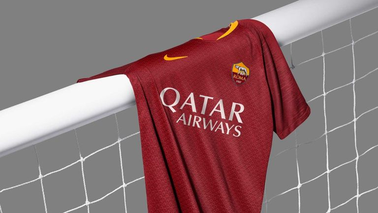 The new Roma home kit features a typeface inspired by medieval letters