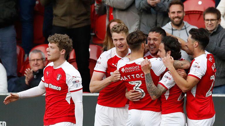 Rotherham United's Richard Wood (centre) celebrates