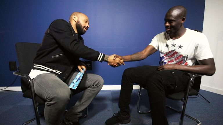 Yaya Toure (right) spoke exclusively to Thierry Henry about his Man City career