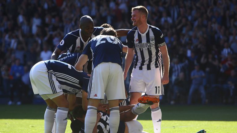 West Brom celebrate after Jake Livermore's injury-time winner against Tottenham - but their fate would be sealed days later