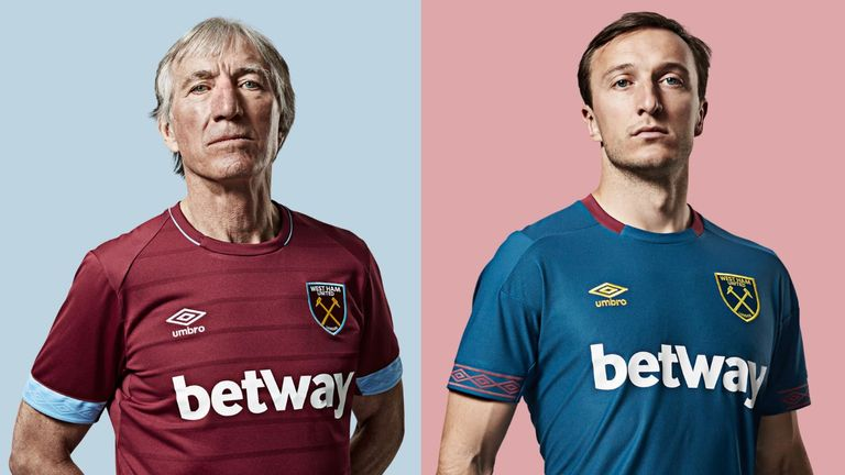 Billy Bonds and Mark Noble model the home and away kits.