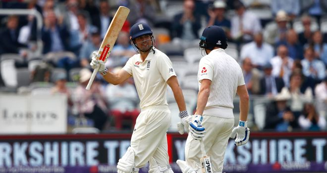 Alastair Cook celebrates his 56th Test fifty
