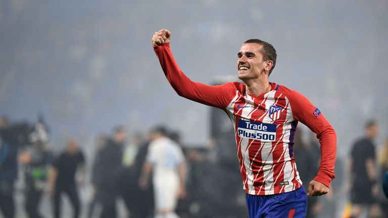 Antoine Griezmann of Atletico Madrid celebrates after scoring his team's second goal of the game during the UEFA Europa League Final between Olympique de Marseille and Club Atletico de Madrid at Stade de Lyon on May