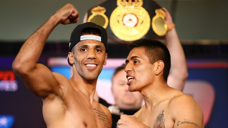 Kal Yafai and David Carmona at the weigh-in
