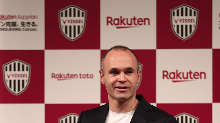 Andres Iniesta unveiled in Tokyo on Thursday