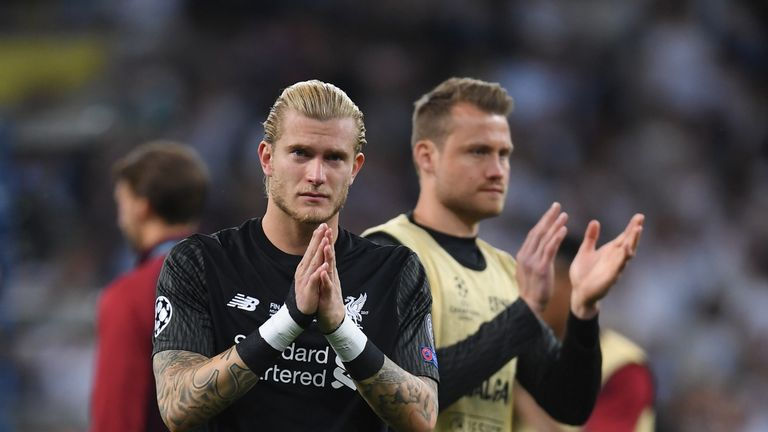 Mignoley and Karius during the UEFA Champions League final between Real Madrid and Liverpool on May 26, 2018 in Kiev, Ukraine.