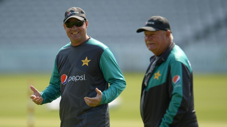 Mickey Arthur of Pakistan gestures during a training session before the 1st Test match between England and Pakistan at Lord's cricket ground on May 22, 2018 in London, England. (Photo by Philip Brown/Getty Images)