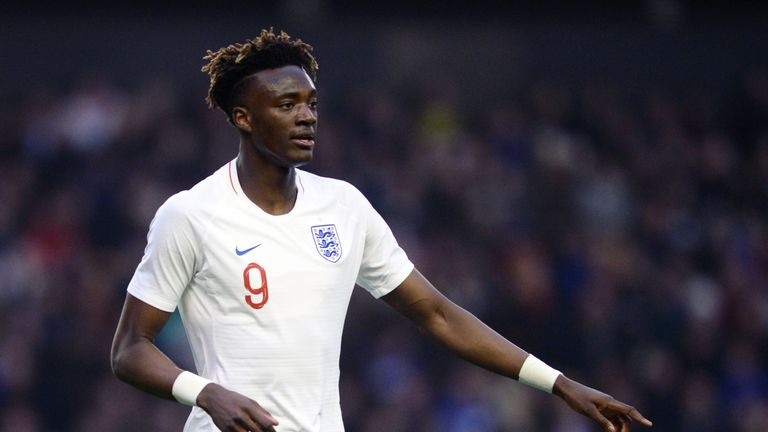 WOLVERHAMPTON, ENGLAND - MARCH 24: Tammy Abraham of England U21 during the international friendly match between England U21 and Romania U21 at Molineux on March 24, 2018 in Wolverhampton, England. (Photo by Nathan Stirk/Getty Images)