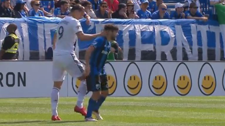 LA Galaxy's Zlatan Ibrahimovic was sent off by VAR against Montreal for hitting another player.