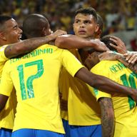 Thiago Silva celebrates with his Brazil team-mates