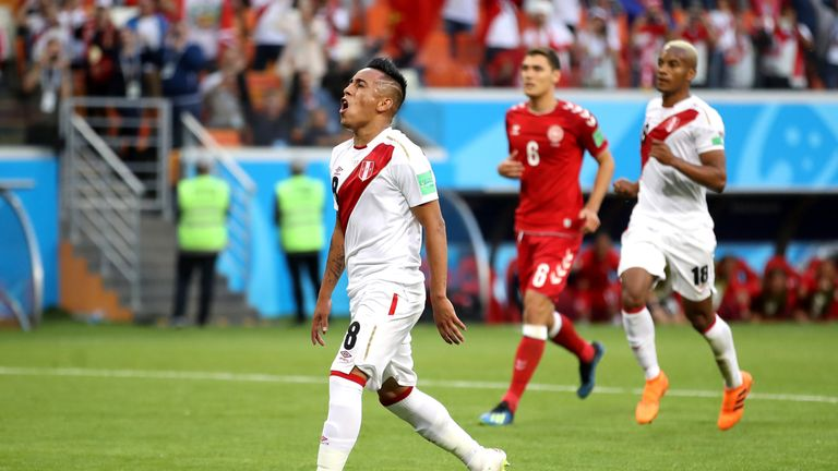 Christian Cueva reacts after firing his penalty over the bar