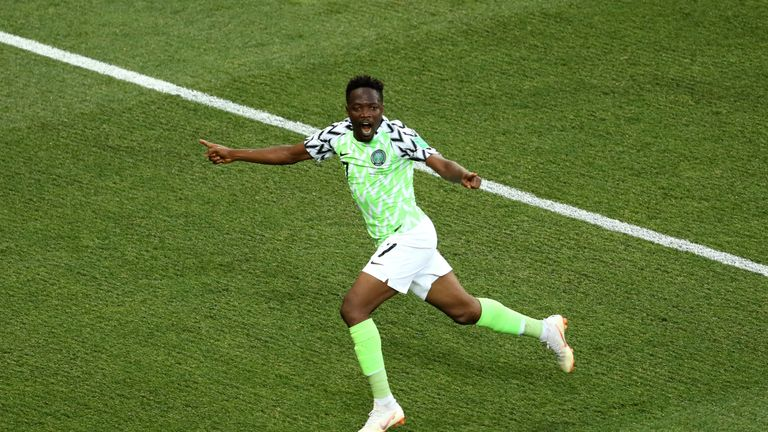 Ahmed Musa of Nigeria celebrates his goal against Iceland