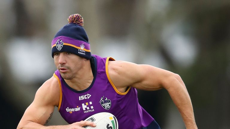 Billy Slater is back training with Melbourne Storm